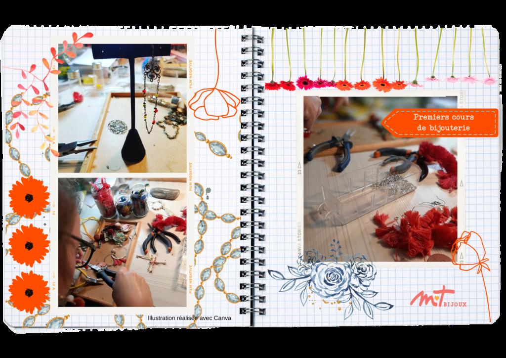 Pages de journal de M T BIJOUX, double pages comprenant des photos d'atelier, d'autoportrait entrain de fabriquer Arrière plan de dessins, motifs, végétaux