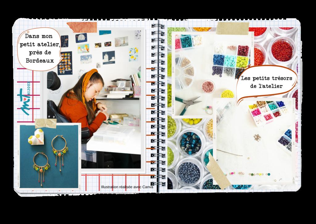 Pages de journal de M T BIJOUX, double pages comprenant des photos de l'atelier, de son matériel (beaucoup de perles très colorées) Autoportrait au travail travail